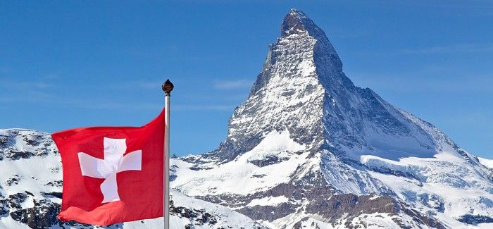 Matterhorn with Swiss Flag